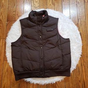 Gap Women's Brown Button Down Puffer Vest